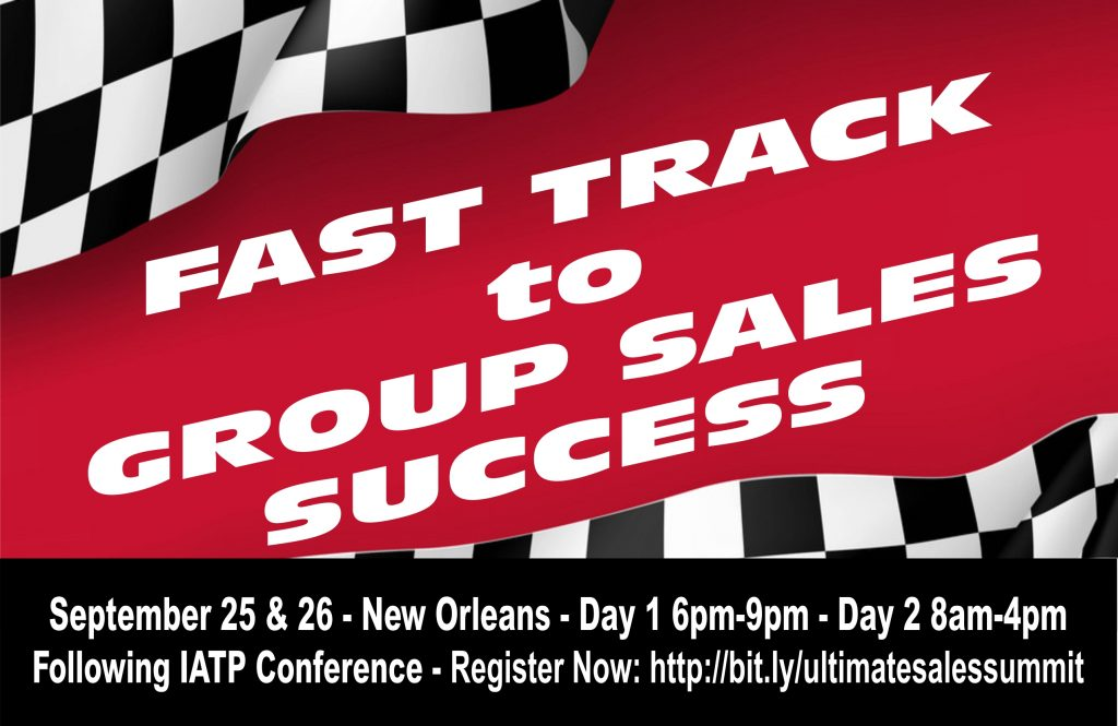 Fast track to group sales postcard with registration link